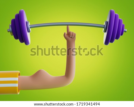 3d render cartoon hand holds barbell with one finger, isolated on green background. Weight power lifting at home. Extraordinary achievement. Funny surrealistic clip art, unusual sport motivation