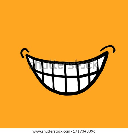 hand drawn doodle smile or laughing by showing teeth for discovering a plan illustration with cartoon style  Royalty-Free Stock Photo #1719343096