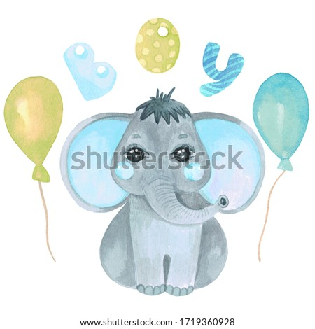 Watercolor illustration of a cute baby elephant. Safari Safari animal clip art for invitations, baby shower, nursery wall art