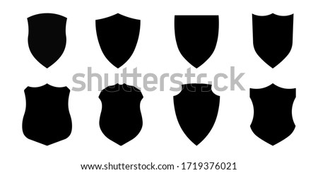 Set of police badge shape, vector military shield silhouettes, security, football patches, illustration shield shape protection, black security and football badge vector icon Royalty-Free Stock Photo #1719376021