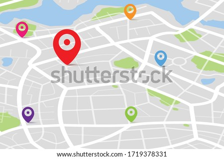 3D Isometric map with destination location point, Aerial clean top view of the day time city map with street and river, Blank urban imagination map, GPS map navigator concept, vector illustration #1719378331