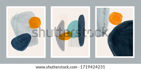 Set of creative minimalist hand painted illustrations for wall decoration, postcard or brochure cover design. Vector EPS10. Royalty-Free Stock Photo #1719424231