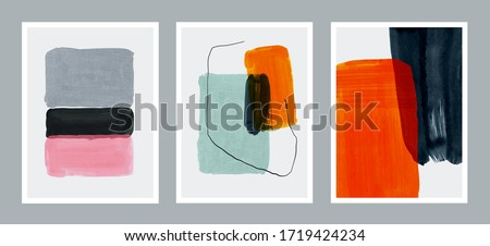 Set of creative minimalist hand painted illustrations for wall decoration, postcard or brochure cover design. Vector EPS10. #1719424234