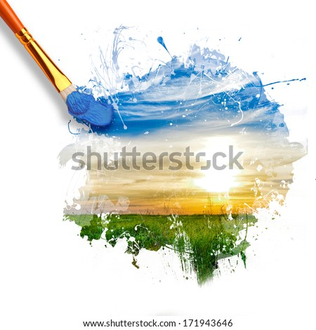 paintbrush painting beautiful landscape with sunrise, blue sky and green grass