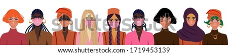 People in protective medical face masks. Coronavirus COVID-19, women wearing protection from virus, urban air pollution, smog, vapor, pollutant gas emission. Vector illustration. #1719453139