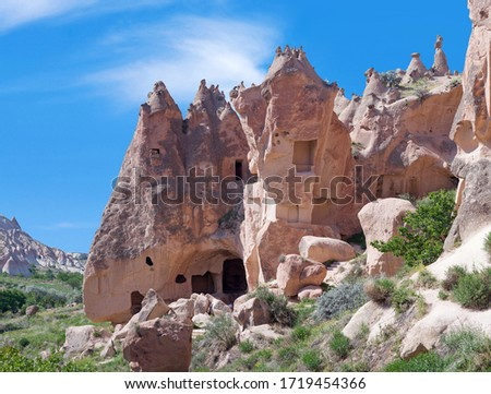 Unique geological formations and caves in Zelve valley, Cappadocia, Central Anatolia, Turkey #1719454366