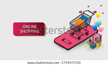 Mobile phone represent of front of shop store.Shopping Online on Website or Mobile Application  Concept Marketing and Digital marketing. #1719475720