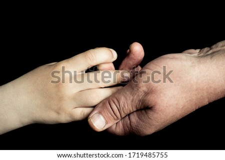 old man's and child hand #1719485755