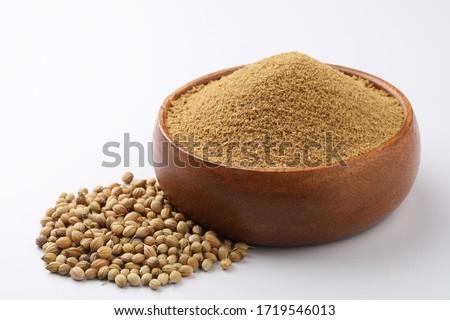 Indian spices, coriander powder or dhaniya powder with coriander seeds #1719546013
