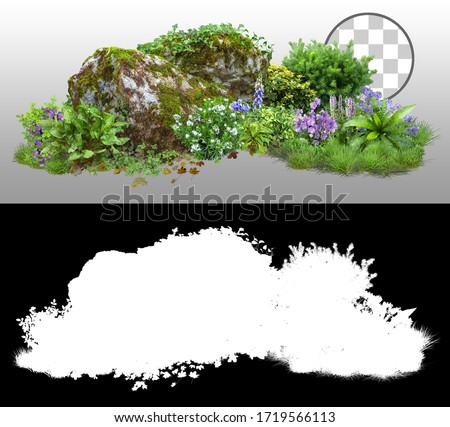 Cutout rock surrounded by flowers. Garden design isolated on transparent background via an alpha channel. Flowering shrub and green plants for landscaping. Decorative shrub and flower bed. #1719566113