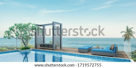 House Pool Villa Modern with swimming pool, White and blue tone furniture, Beach chairs with sea view -3D render #1719572755