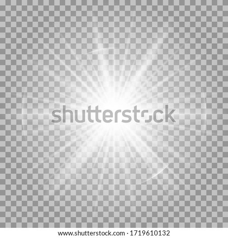 White glowing light burst explosion transparent. Vector illustration for cool effect decoration with ray sparkles. Bright star. Transparent shine gradient glitter, bright flare. Glare texture. #1719610132