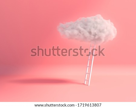 Stair With Cloud Floating on pink room background. Minimal Creative idea concept. 3D render. #1719613807