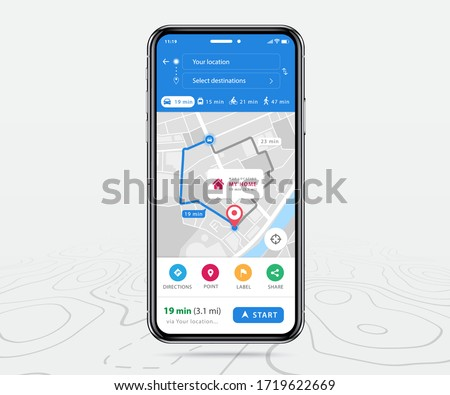 Map GPS navigation, Smartphone map application and destination red pinpoint on screen, App search map navigation, colorful buttons and maps icons, Vector illustration for graphic design #1719622669