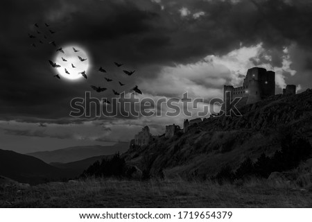 scary and mystic castle view on moonlight