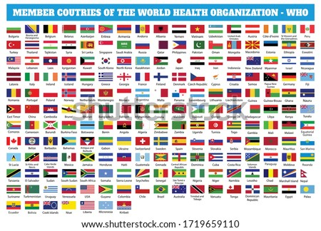 Flags of Member countries of the World Health Organization (WHO). World flag collection #1719659110