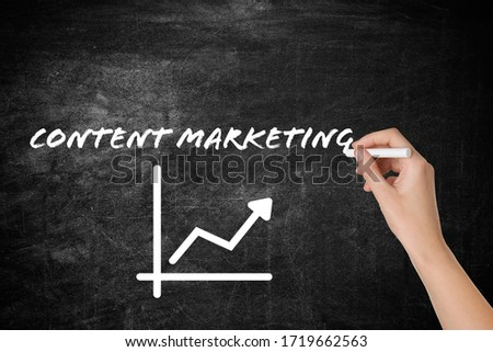 Woman writing content marketing scheme on blackboard, closeup