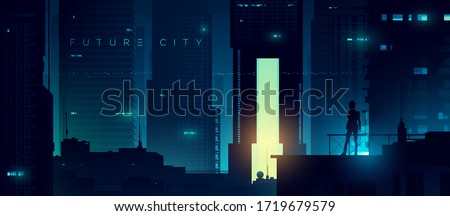 Futuristic cyberpunk illustration. Neon city background. Woman on the background of the shining metropolis Royalty-Free Stock Photo #1719679579