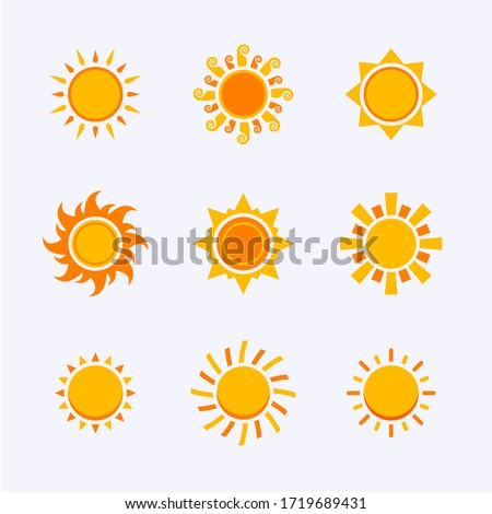 color sun icon,sign,pictogram,symbol set isolated on a white background flat syle