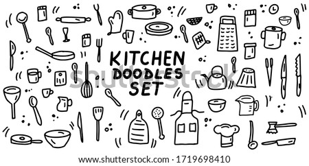Kitchen doodles icon set. Hand drawn lines kitchen cooking tools and appliances, kitchenware, utensil cartoon icons collection. Vector illustration. #1719698410