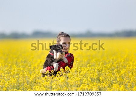 Pretty teenage girl holding cute dog miniature schnauzer in rapeseed with yellow blooming flowers in springtime #1719709357