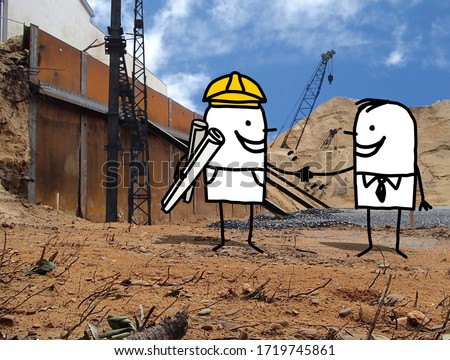 hand drawn Cartoon smiling foreman and businessman,handshaking on a construction site photo