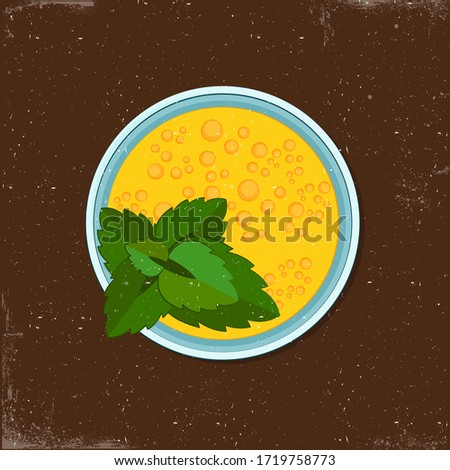 Cocktail with mango and citrus green mint on brown background, flat illustrations for cafe. Lovely clip art. Summer drink