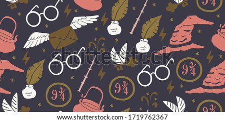 Outline black white seamless pattern with elements magic school: sorting magical hat, feather with ink, round eye glasses, flying letter, magic wand, flash, flying key. Kids pattern, magical design #1719762367