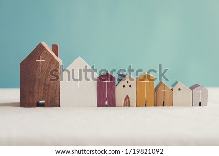 Home church community, worship together at home, streaming online church service,   Mission of gospel, social distancing concept Royalty-Free Stock Photo #1719821092