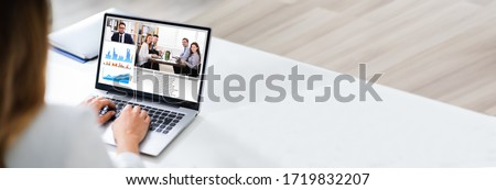Work From Home Video Conference And Online Meeting Royalty-Free Stock Photo #1719832207