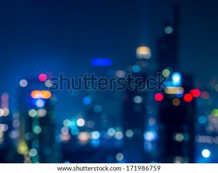 Abstract  bokeh   cityscape of Bangkok night background / illustration