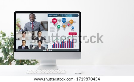 Video conference concept. Teleconference. Telemeeting. Webinar. Online seminar. e-Learning. Royalty-Free Stock Photo #1719870454