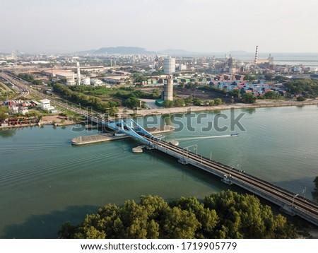 Perai, Penang/Malaysia - Mar 02 2020: Swing Bridge at Perai River. #1719905779