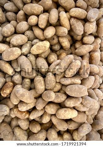 Top view of fresh potatoes or potato