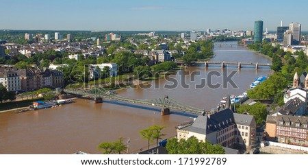 Aerial view of the city of Frankfurt am Main in Germany - wide panoramic view #171992789