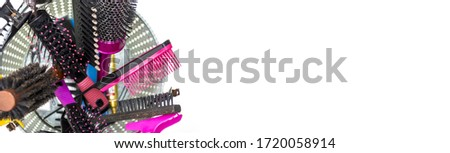 Set of combs. Set of professional hairdressing tools. Beauty and hairdressing concept. #1720058914