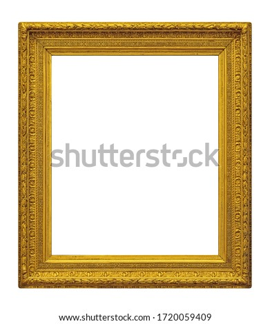 Golden frame for paintings, mirrors or photo isolated on white background. Design element with clipping path Royalty-Free Stock Photo #1720059409