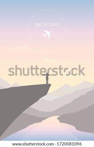 time to travel girl in the mountains by the river landscape illustration