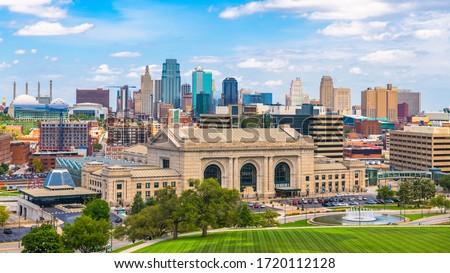 Kansas City, Missouri, USA downtown skyline with Union Station.