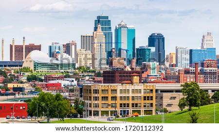 Kansas City, MO, USA downtown city skyline.
