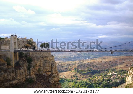 Sidi M'Cid Bridge in Constantine, Algeria. It's a 164 m long suspension bridge across the Rhummel River, opened to traffic in April 1912 and until 1929 was the highest bridge in the world at 175 m. #1720178197