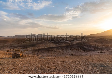 Beautiful dry landscape with colorful sand and cloudy blue sky. Sunset in the wilderness. The arid landscape of the prairie. Israel Negev Desert Sede Boker. Great view of the Nakhal Tsin rift.  Royalty-Free Stock Photo #1720196665