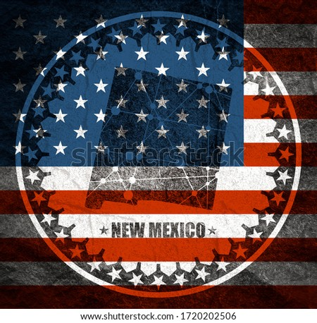 Image relative to USA travel. New Mexico state map textured by lines and dots pattern. Stamp in the shape of a circle. Flag of the USA #1720202506