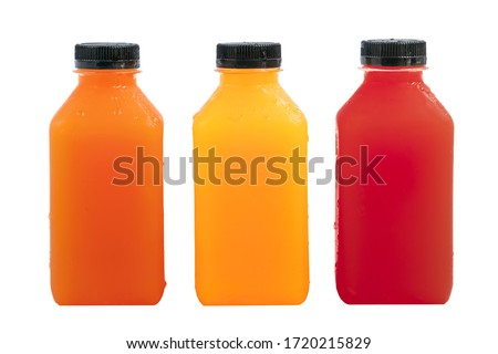 Fresh fruit juice in small clear plastic bottle.Cube shaped bottles. Blank front area for branding labels. Orange juice, carrot juice and beetroot or pomegranate juice. Isolated on white background. #1720215829