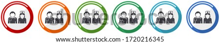 Doctor icon set, flat design vector illustration in 6 colors options for webdesign #1720216345