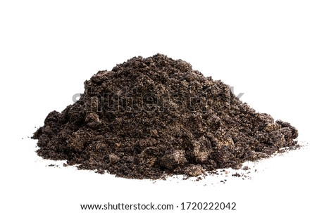 Heap  of soil isolated on white  #1720222042