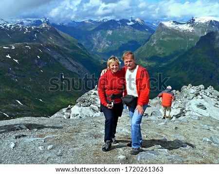 Norway-view from the Dalsnibba to Geirangerfjorden and tourists #1720261363