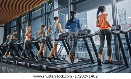 Group of Athletic People Running on Treadmills, Doing Fitness Exercise. Athletic and Muscular Women and Men Actively Training in the Modern Gym. Sports People Workout in Fitness Club. #1720291402