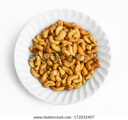Tasty Cashew nut on white plate #172032407