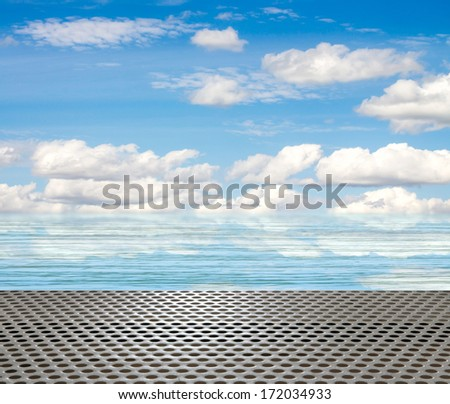 metal pier on the background of sea and sky #172034933